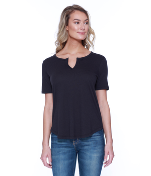 Womens CVC Slit V-Neck