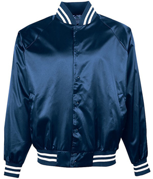 Satin Baseball Jacket Trimmed