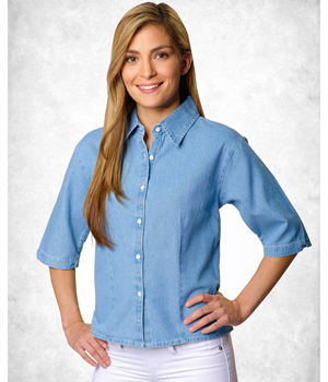 Ladies 1/2 Sleeve Denim Shirt
