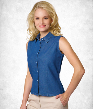 Ladies Sleeveless Denim Shirt
