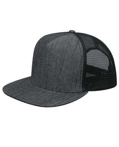 07f8612df4d55 6997C Mega Cap Flat Bill Snapback Trucker Cap   Five panel   Twill front  with mesh back   Pro Style   Fused buckram backing   Plastic adjustable  snap ...