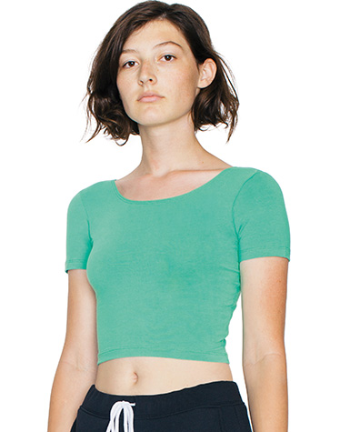 7c4dfd09f5505 Tees  Crop Top  8380W American Apparel Womens Cotton Spandex Crop Top   5.6  ounce   95% combed ring spun cotton 5% elastane   40 singles   1 4