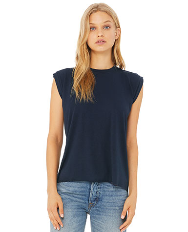 b4db690a 8804 BELLA + CANVAS Womens Flowy Muscle Tee With Rolled Cuffs * 3.7 ounce *  65% polyester/35% viscose * Heathers 52C/48P * Side seamed * 32 singles *  Rolled ...