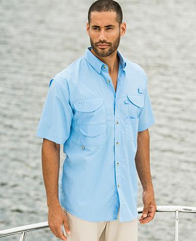 Zp2287 hilton short sleeve fishing shirt 60 cotton 40 for Fishing sponsor shirts
